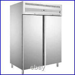 1150L Gastro Double Door Upright Fridge Stainless Steel Commercial Chiller