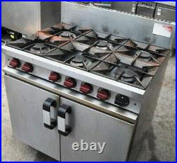 2 Double Door 6 Burners Hobs Stainless Steel Cast Commerical Natural Gas NG Oven