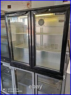 Blizard under counter commercial double door glass fridge bottle cooler