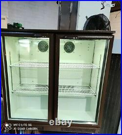 Brown under counter commercial double door glass fridge bottle cooler