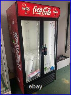 Coca Cola Double Glass Door Display/drink Fridge Shop Commercial Used