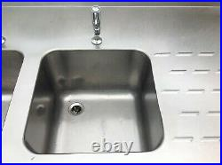 Commercial All Stainless Steel Catering Double Sink Without Doors-used
