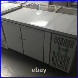 Commercial Double 2 Door Refrigerated Steel Counter Freezer With Steel Work Top
