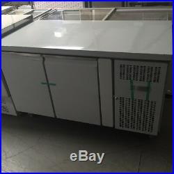 Commercial Double 2 Door Refrigerated Steel Counter Fridge With Steel Work Top