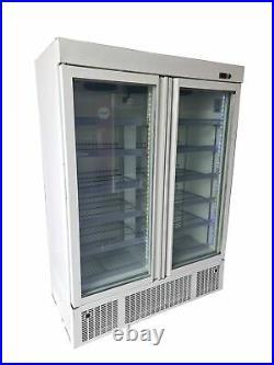 Commercial Double Door Display Freezer, Upright White Glass 2 Door Freezer