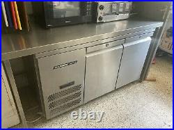 Commercial Kitchen under-counter Double Door Fridge Chiller Used Stainless Steel