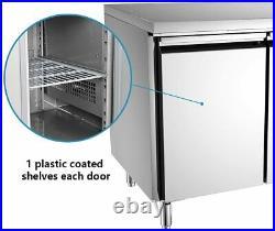 Commercial Stainless Steel Double 2 Door Counter Refrigerator Food Prep Fridge