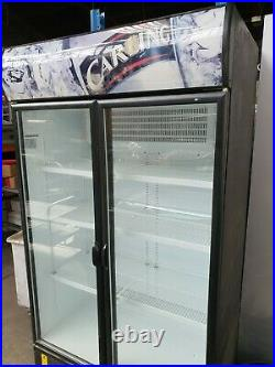 Commercial Upright Double Glass Door Drinks Fridge With Shelves -Good Condition