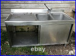 Commercial double bowl stainless steel sink With Sliding Doors And Bottom Shelf