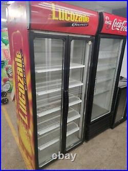 Commercial double glass door drinks display fridge chiller