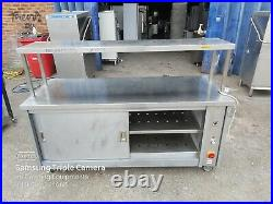 Commercial stainless steal hot-cupboard double sliding door with gentry shelf