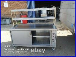 Commercial stainless steal hot-cupboard double sliding door with gentry shelfs