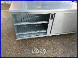 Commercial stainless steal hot-cupboard double sliding door worktop 190x80x90cm