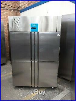 Commercial upright double door fridge Slim line stainless steel chiller used