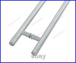 Composite UPVc Wood Glass Entrance Handles Pair Inline T Bar Stainless 3 sizes