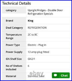 Double Door Commercial Fridge 1200L KING Ex. Cond FWO (regassed 2021)