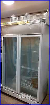 Double Glass Doors Husky Commercial/shop Display Upright Chiller In Good Workin