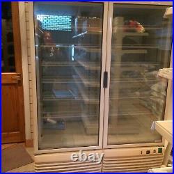 Double door commercial shop retail display freezer used working order
