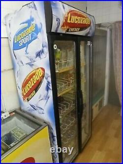 Double door commercial upright display fridge