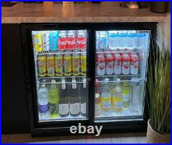 Empire Commercial Sliding Double 2 Door Back Bar Bottle Display Cooler Fridge
