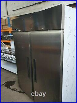 Foster Xtra Commercial Stainless Steel Upright Large Double Door Freezer VGC
