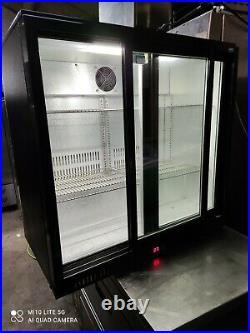 Lec Under counter commercial double sliding door glass fridge bottle cooler