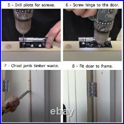 PAIR Chrome Door Hinge 3 inch 75mm Ball Race Suit Internal Doors WITH SCREWS