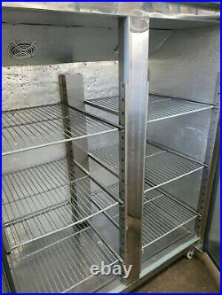 Polar Commercial Stainless Steel Upright Double Door Fridge With Shelves VGC