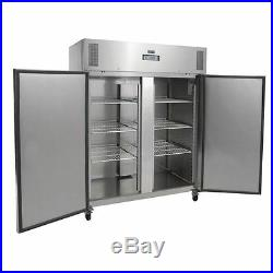 Polar Double Door Freezer in Grey 1300L Heavy Duty / Commercial