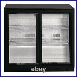 Polar Double Sliding Door 208L Back Bar Cooler LED Black Commercial Fridge