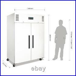 Polar Gastro 1200 litre ltr Double Door Fridge White Commercial Catering CC663