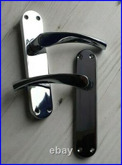 Polished Chrome Modern Latch Interior Door Handle Arched Handles 1-15 Pairs D1