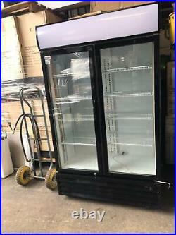 Prodis Double Door Display Cooler COMMERCIAL DRINK FRIDGE GLASS DOORS BLACK