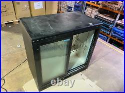 Rhino Undercounter Commercial Double Door Bar Glass Fridge Bottle Cooler. Used