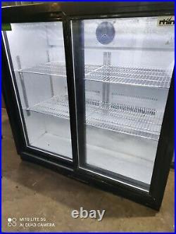 Rhino under counter commercial double sliding door glass fridge bottle cooler