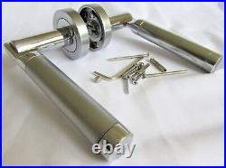 Satin Chrome Serozzetta Style UP TO THE MINUTE Door Handles Round Rose SETS D5