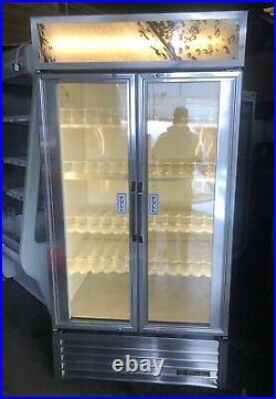True GDM35 900Ltr Commercial Glass Double Door Display Fridge/Drink Fridge-S/S