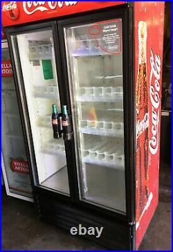 True GDM RED 900 Ltr Commercial Glass Double Door Display Fridge / Drink Fridge