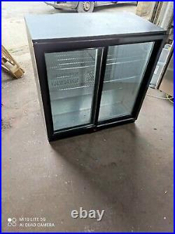 Under counter commercial double sliding door glass fridge bottle cooler